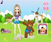 เกมส์แต่งตัว สาวน้อยเดินเล่นกับหมีน้อยน่ารัก