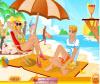 เกมส์แต่งตัว สาวสวยนั่งกินน้ำผลไม้ริมชายหาดบนเตียงผ้าใบ